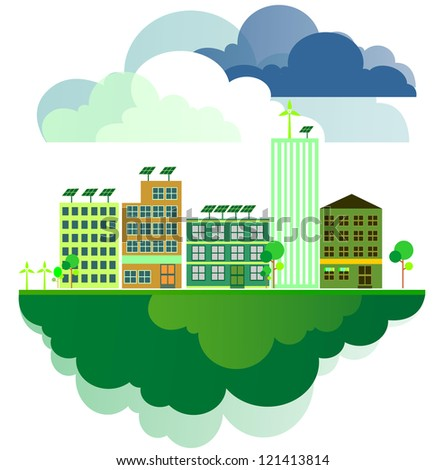 modern ecological town - stock photo