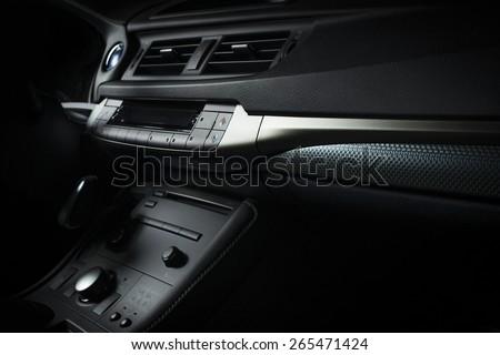 Modern electric car interior - stock photo