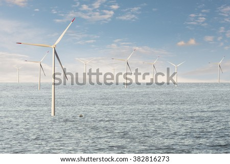 Modern electric energy production with offshore wind generator.