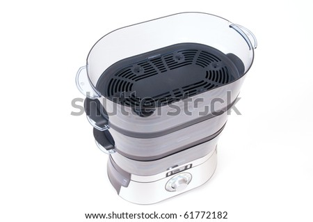 modern electric steamer on a white background