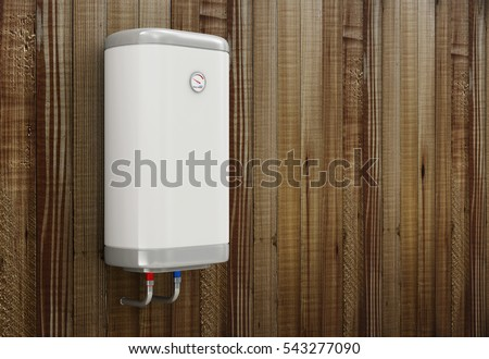 Modern Electric Water Heater on the Wooden Wall with place for Your Text. 3D Rendering