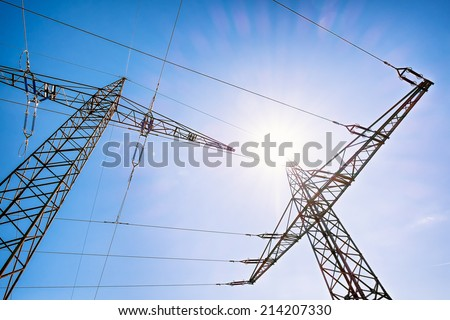 modern electricity pylons - unusual angle