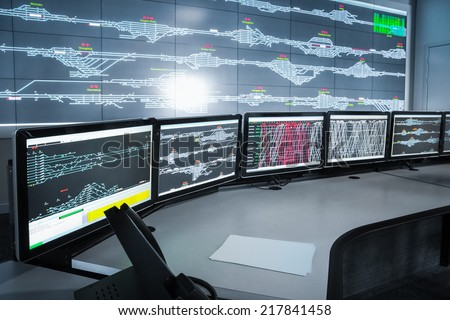 modern electronic control room , science and technology background  - stock photo