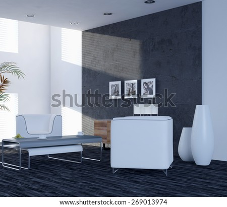 Modern elegant living room interior with two contemporary chairs and large windows. 3d Rendering. - stock photo