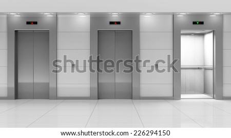 Modern Elevator Hall Interior - stock photo
