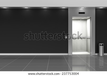 Modern Elevator Hall Interior with Opened Doors. 3D Rendering