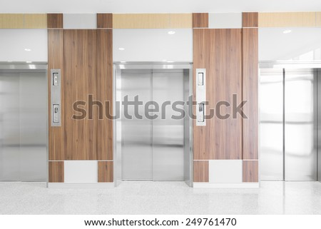 Modern elevator in a hospital - stock photo