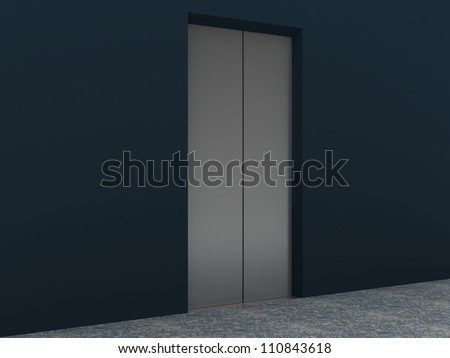 Modern Elevator Interior and Exterior inside building - stock photo