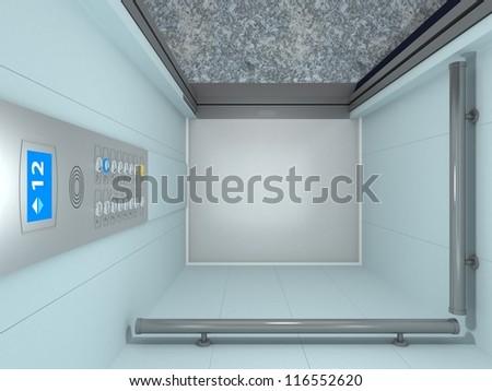 Modern Elevator Interior and Exterior inside building - stock photo
