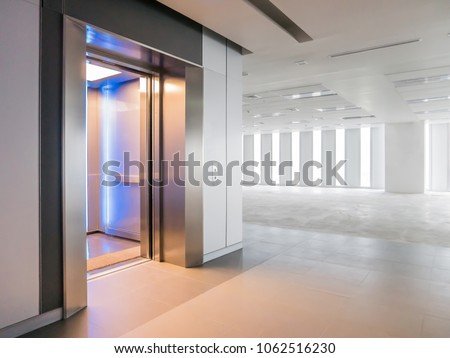 Modern Elevator Open Doors In A Empty Floor, Large Hall, Store, Interior,
