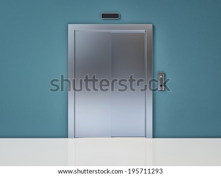 Modern Elevator with Closed Door on Blue Wall