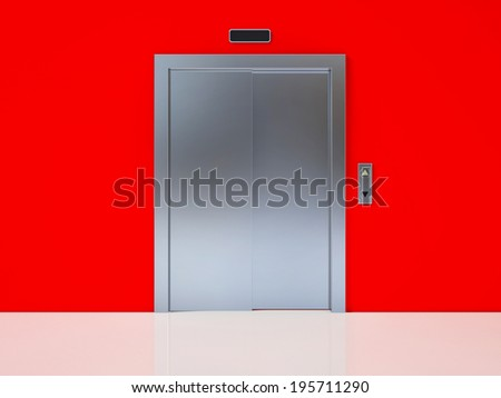 Modern Elevator with Closed Door on Red Wall - stock photo