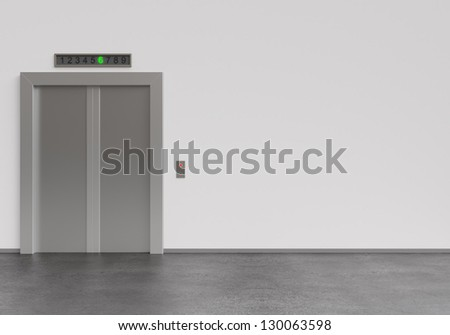 modern elevator with closed doors, 3d render