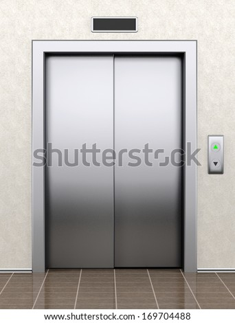Modern elevator with closed doors extreme closeup - stock photo