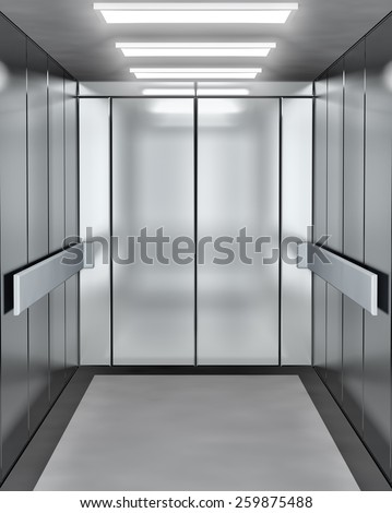 Modern elevator with opened door - stock photo