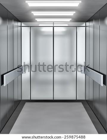 Modern elevator with opened door - stock photo