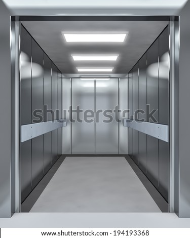Modern elevator with opened doors - 3d illustration - stock photo