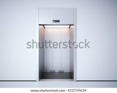 Modern elevator with opened metal  doors. 3d rendering