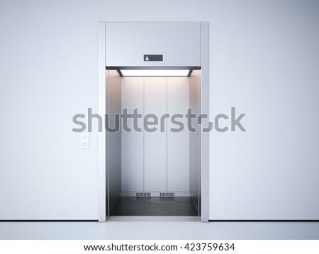 Modern elevator with opened metal  doors. 3d rendering - stock photo