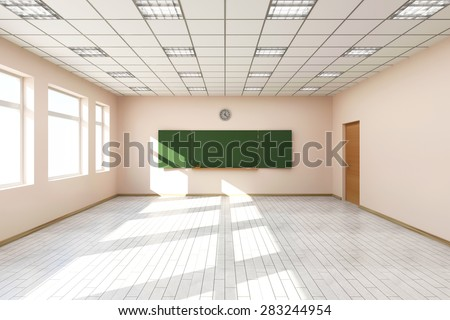 Modern Empty Classroom 3D Interior in Light Tones with Green Chalkboard on the Wall. 3D Rendering - stock photo