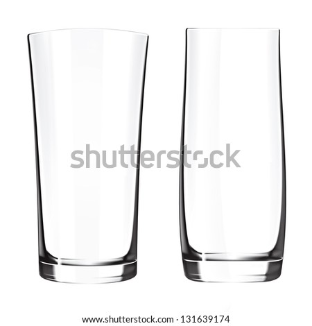 Modern empty drinking glasses cup isolated on white background. Glass vase - stock photo