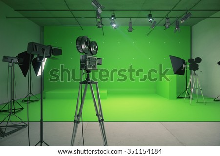 Modern empty green photo studio with  old style movie camera 3D Render - stock photo