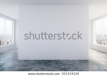 Modern empty loft room with white wall, concrete floor and big windows 3D Render - stock photo