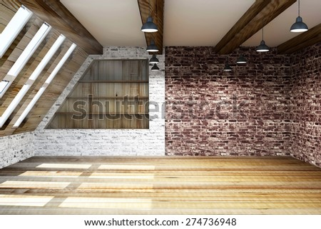 Modern Empty Mansard Room Interior with Large Windows. 3D Rendering - stock photo