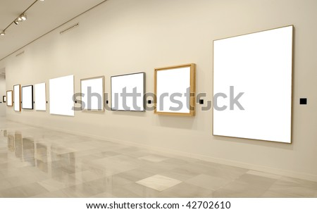 Modern empty museum with blank canvas