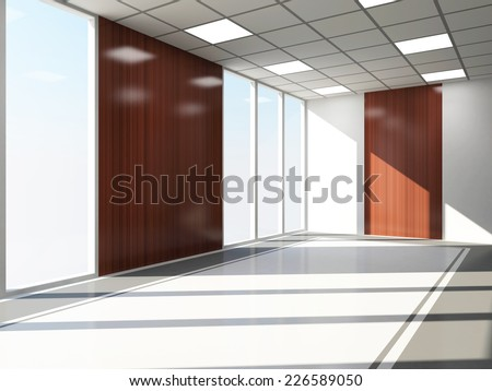 Modern Empty Office Interior with Big Windows - stock photo