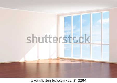 Modern Empty Room 3D Interior with Large Windows - stock photo