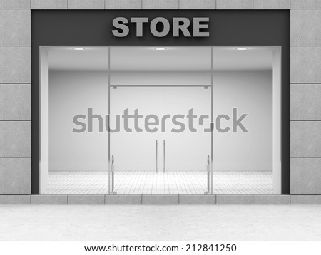 Modern Empty Store Front with Big Windows  - stock photo
