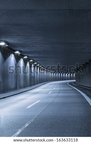 Modern empty Street tunnel - stock photo