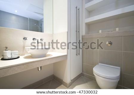 Modern en-suite bathroom - stock photo