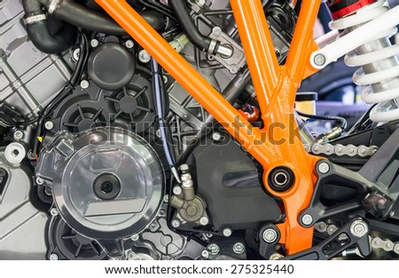 Modern engine of the new motorcycle. - stock photo