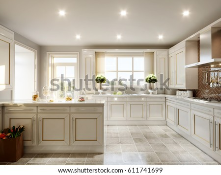 Modern English Classic Style Kitchen Interior Stock