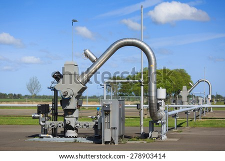 Modern equipment at a natural gas processing site in Groningen, the Netherlands. - stock photo