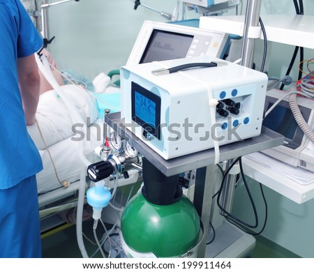 Modern equipment in the ICU and work with the patient  - stock photo