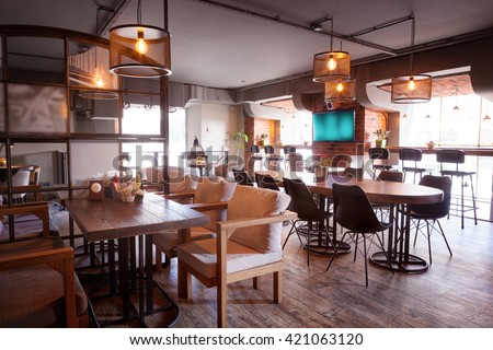 Modern european cafe interior in downtown. - stock photo