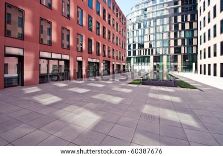 Modern European financial office district in Frankfurt - stock photo