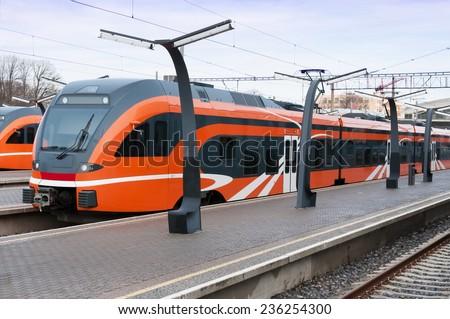 Modern european train in Estonia - stock photo