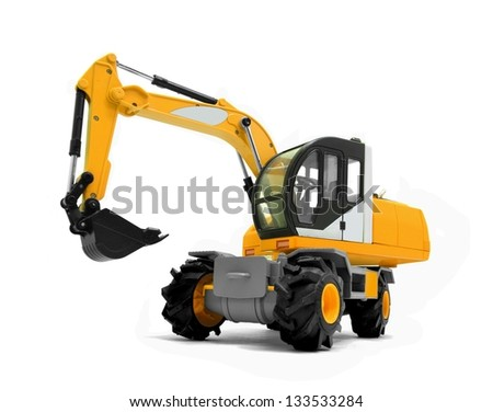 Modern excavator machines - stock photo