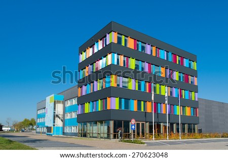 modern exterior of a colorful office building in the netherlands - stock photo