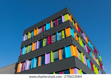 modern exterior of a colorful office building in the netherlands
