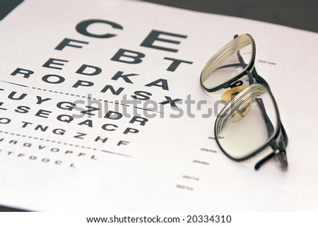 modern eyeglasses resting on eyechart at an angle with frame closed - stock photo