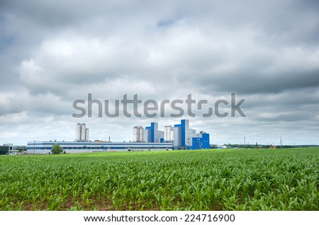 Modern Factory. Polyethylene terephthalate (PET) granules factory in Klaipeda, Lithuania, Europe. - stock photo