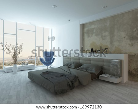 Modern factory-style bedroom interior with concrete wall - stock photo