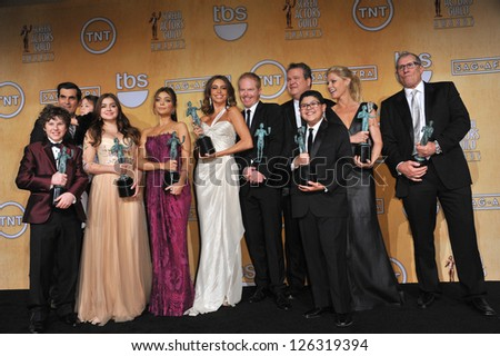 Modern Family cast at the 19th Annual Screen Actors Guild Awards at the Shrine Auditorium, Los Angeles. January 27, 2013  Los Angeles, CA Picture: Paul Smith - stock photo