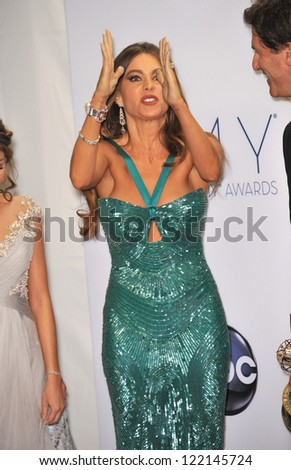 Modern Family star Sofia Vergara at the 64th Primetime Emmy Awards at the Nokia Theatre LA Live. September 23, 2012  Los Angeles, CA Picture: Paul Smith - stock photo