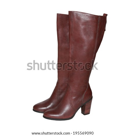 Modern fashionable boots for women isolated on white background  - stock photo